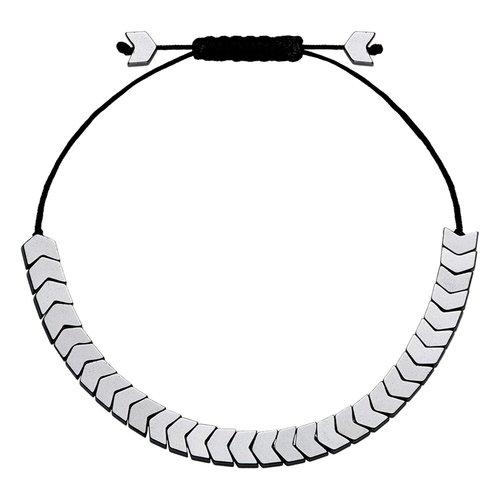 BREEZE Handmade Arrow Silver Cord Hematite Adjustable Bracelet 310008.4