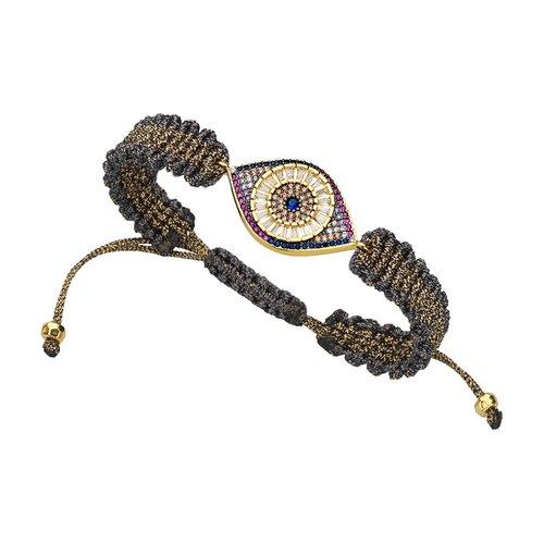 BREEZE Handmade Knitted Gold Metal Cord Zircons Adjustable Bracelet 310009.1
