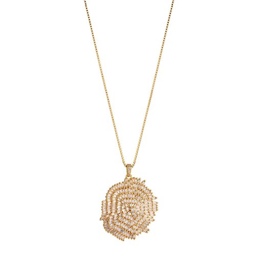 BREEZE Handmade Pendant Gold Stainless Steel Crystals 80cm Necklace 410001.1