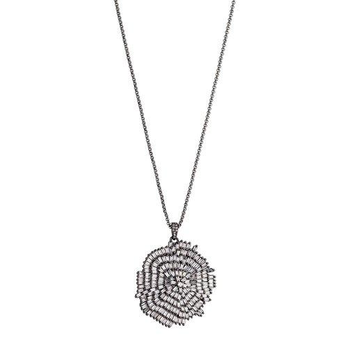BREEZE Handmade Pendant Gun Metal Stainless Steel Crystals 80cm Necklace 410001.9