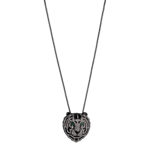 BREEZE Handmade Tiger Gun Metal Stainless Steel Zircons 80cm Necklace 410002.10