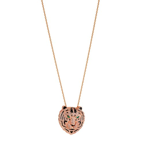 BREEZE Handmade Tiger Rose Gold Stainless Steel Zircons 80cm Necklace 410002.3