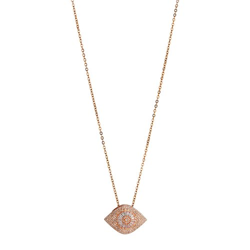 BREEZE Handmade Evil Eye Rose Gold Stainless Steel Zircons 80cm Necklace 410003.3
