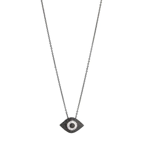 BREEZE Handmade Evil Eye Gun Metal Stainless Steel Zircons 80cm Necklace 410003.9