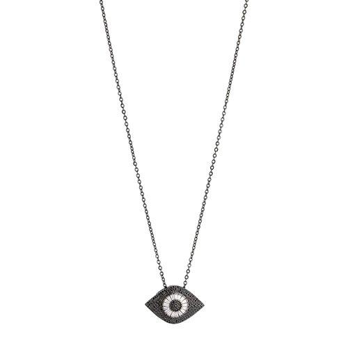 BREEZE Handmade Evil Eye Gun Metal Stainless Steel Zircons 80cm Necklace 410003.9
