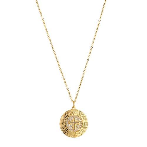 BREEZE Handmade Cross Pendant Gold Stainless Steel Zircons 45cm Necklace 410004.1