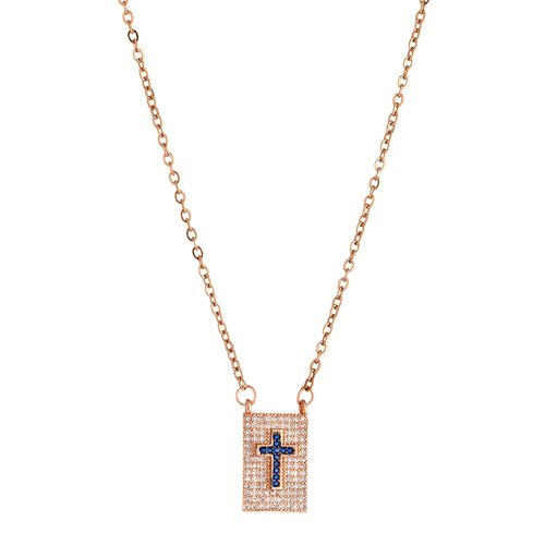 BREEZE Handmade Cross Pendant Rose Gold Stainless Steel Zircons 45cm Necklace 410005.3