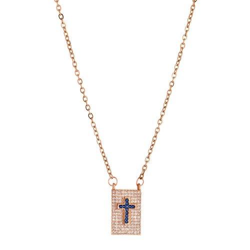 BREEZE Handmade Cross Pendant Rose Gold Stainless Steel Zircons 45cm Necklace 410005.3