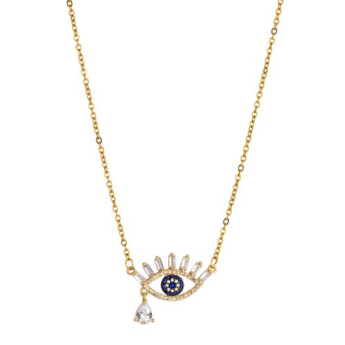 BREEZE Handmade Crying Evil Eye Gold Stainless Steel Crystals 45cm Necklace 410006.1