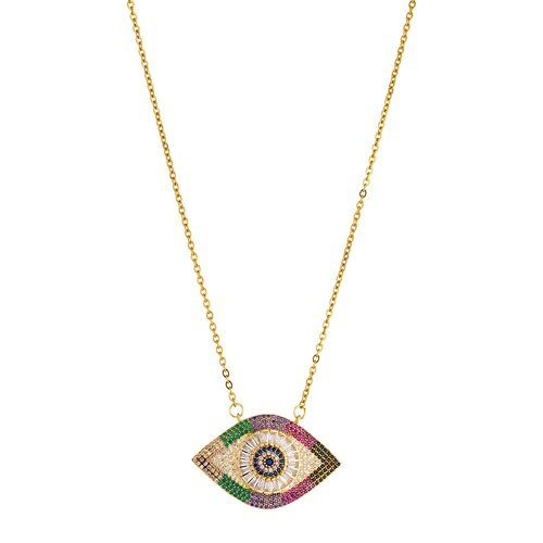 BREEZE Handmade Evil Eye Gold Stainless Steel Zircons 60cm Necklace 410007.1