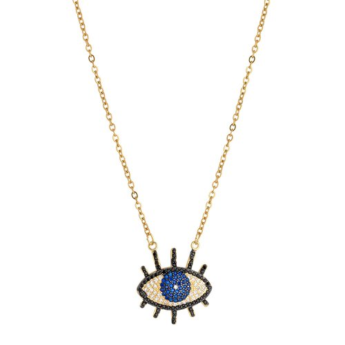 BREEZE Handmade Evil Eye Gold Stainless Steel Zircons 45cm Necklace 410008.1