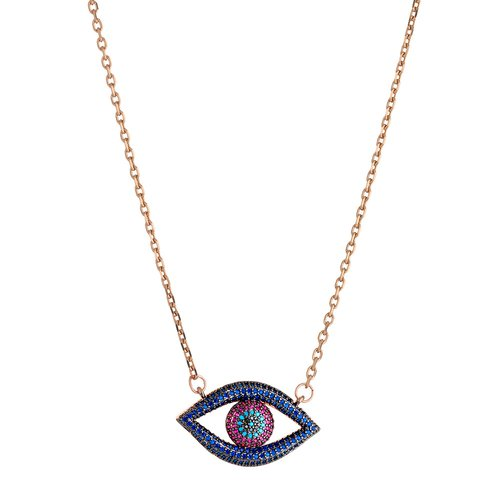 BREEZE Handmade Evil Eye Rose Gold Stainless Steel Zircons 45cm Necklace 410009.3
