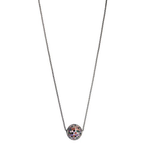 BREEZE Handmade Ball Gun Metal Stainless Steel Zircons 80cm Necklace 410011.9