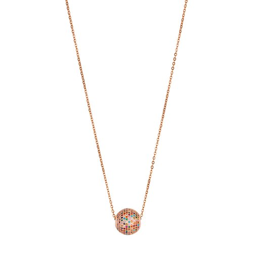 BREEZE Handmade Ball Rose Gold Stainless Steel Zircons 80cm Necklace 410013.3