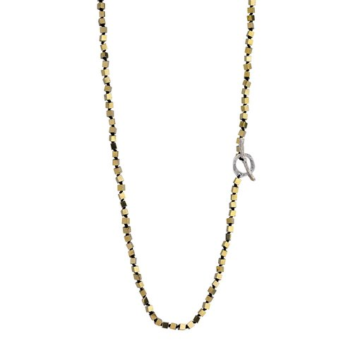 BREEZE Handmade Long Rosary Gold Metal Cord Hematite 100cm Adjustable Necklace 410014.1