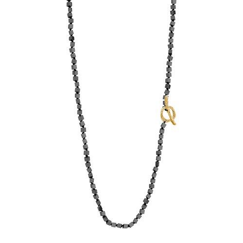 BREEZE Handmade Long Rosary Metal Cord Hematite 100cm Adjustable Necklace 410014.2