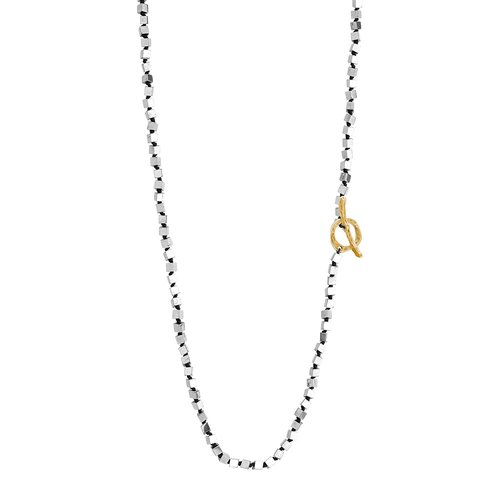 BREEZE Handmade Long Rosary SIlver Metal Cord Hematite 100cm Adjustable Necklace 410014.4