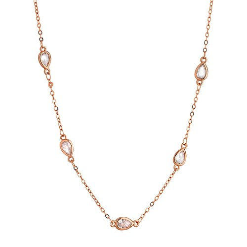 BREEZE Handmade Station Rose Gold Metal Crystals 50cm Necklace 410017.3A