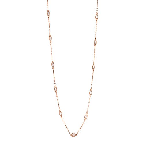 BREEZE Handmade Long Station Rose Gold Metal Crystals 100cm Necklace 410017.3B