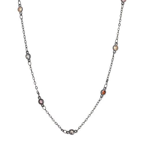 BREEZE Handmade Station Gun Metal Metal Crystals 50cm Necklace 410018.9A
