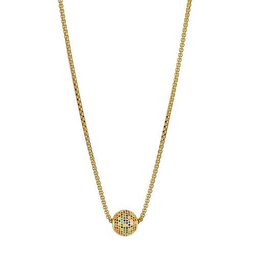 BREEZE Handmade Ball Gold Stainless Steel Zircons 80cm Necklace 410019.1