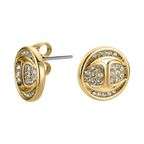 JUST CAVALLI Logo Gold Stainless Steel Earrings JCER00720200