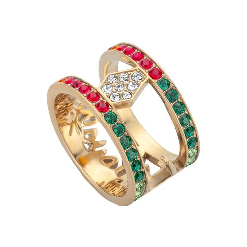 JUST CAVALLI Logo Gold Stainless Steel Ring JCRG00740407