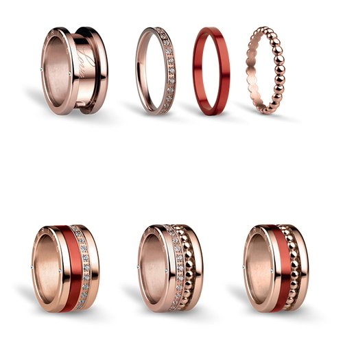 BERING Symphony Set Red Sailing Stainless Steel Ring REDSAILING