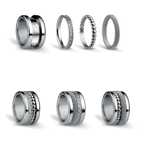 BERING Symphony Set Silver Lights Stainless Steel Ring SILVERLIGHTS