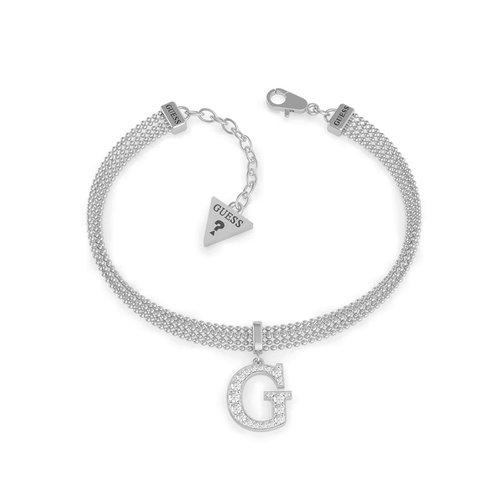 GUESS STEEL Multi Chain Ασημένιο Βραχιόλι Με Κρεμαστό G UBB79084-S