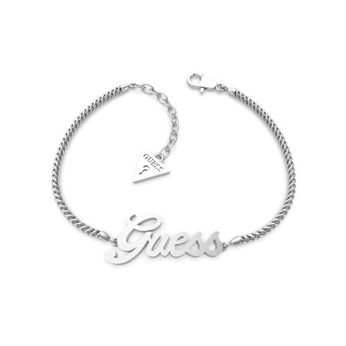 GUESS STEEL Logo Power Ασημένιο Βραχιόλι Με Λογότυπο UBB79102-S