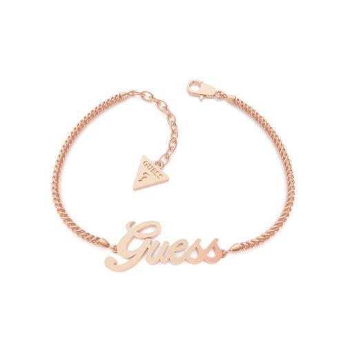 GUESS STEEL Logo Power Ροζ Χρυσό Βραχιόλι Με Λογότυπο UBB79104-S
