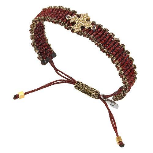 BREEZE Handmade Knitted Gold Metal Cord Zircons Adjustable Bracelet 310020.1