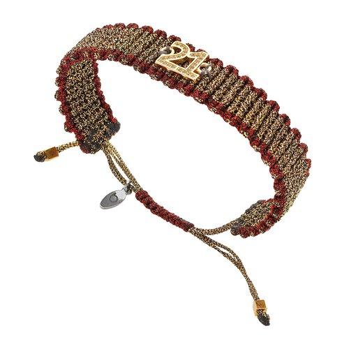 BREEZE Handmade Knitted Gold Metal Cord Zircons Adjustable Bracelet 310021.1