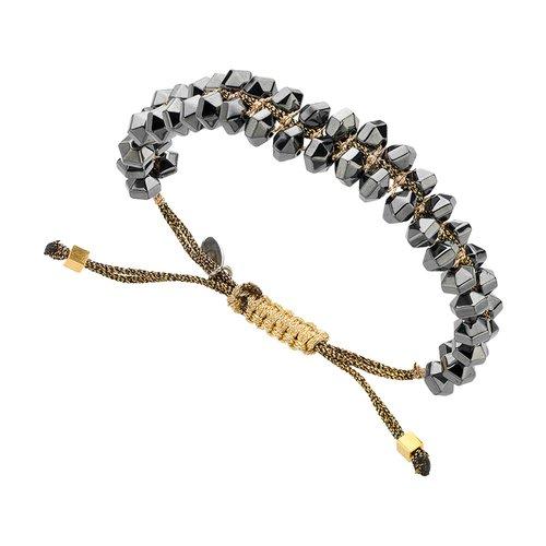 BREEZE Handmade Macrame Cord Hematite Adjustable Bracelet 310022.2