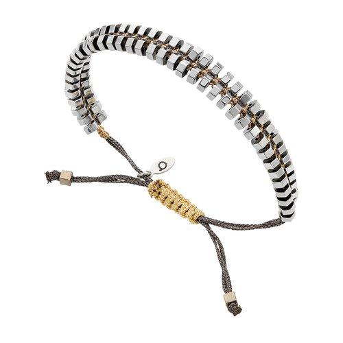 BREEZE Handmade Macrame Cord Hematite Adjustable Bracelet 310023.4