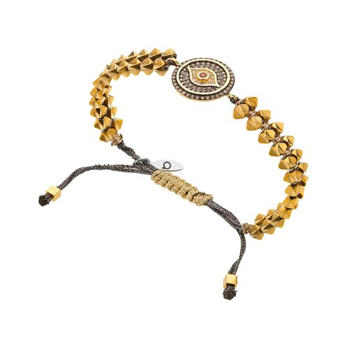 BREEZE Handmade Macrame Eye Gold Metal Hematite Adjustable Bracelet 310025.1