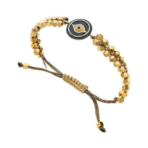 BREEZE Handmade Macrame Eye Gold Metal Hematite Adjustable Bracelet 310026.1