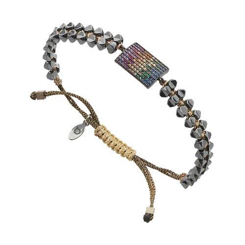 BREEZE Handmade Macrame Gun Metal Cord Hematite Adjustable Bracelet 310027.9