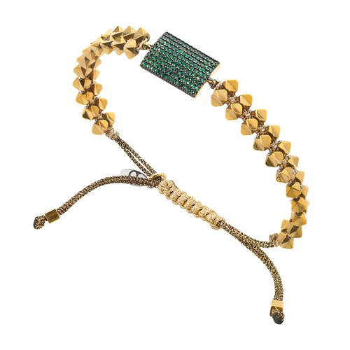 BREEZE Handmade Macrame Gold Cord Hematite Adjustable Bracelet 310028.1