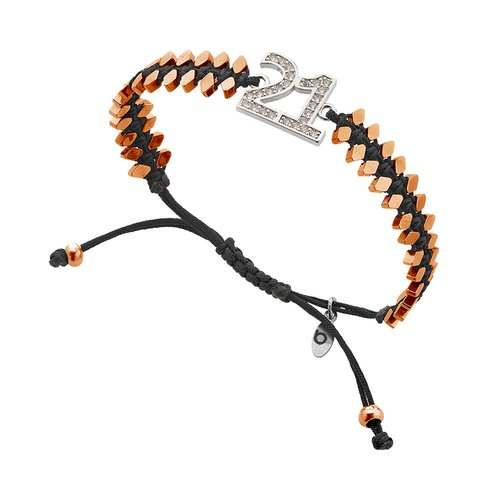 BREEZE Handmade Macrame Rose Gold Cord Hematite Adjustable Bracelet 310029.3