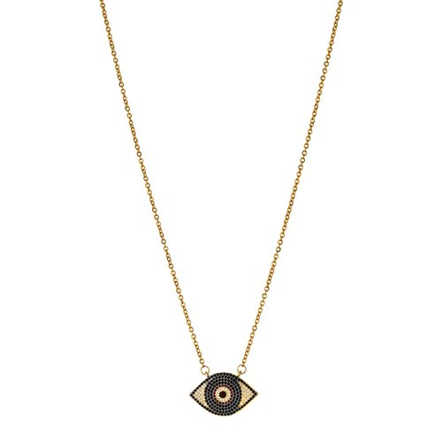 BREEZE Handmade Evil Eye Gold Stainless Steel Zircons 50cm Necklace 410021.1