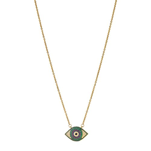 BREEZE Handmade Evil Eye Gold Stainless Steel Zircons 50cm Necklace 410022.1