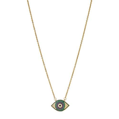 BREEZE Handmade Evil Eye Gold Stainless Steel Zircons 50cm Necklace 410022.1