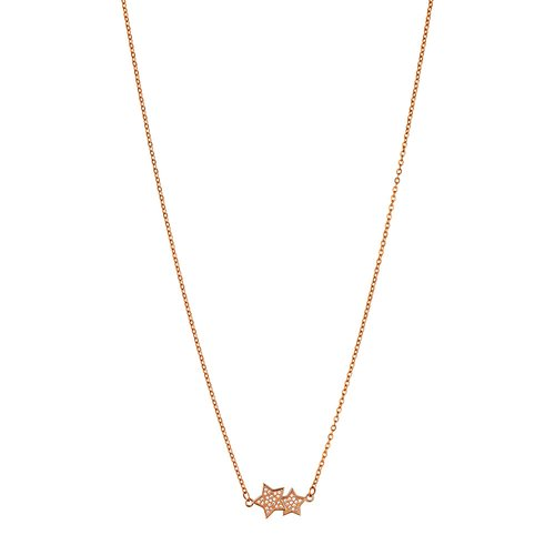 BREEZE Stars Rose Gold Stainless Steel Zircons 50cm Necklace 410026.3
