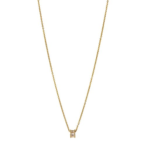 BREEZE Cylinder Gold Stainless Steel Zircons 50cm Necklace 410029.1