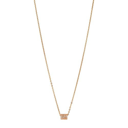 BREEZE Rose Gold Stainless Steel Zircons 50cm Necklace 410030.3