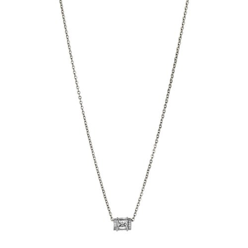 BREEZE Tube Stainless Steel Zircons 50cm Necklace 410031.4
