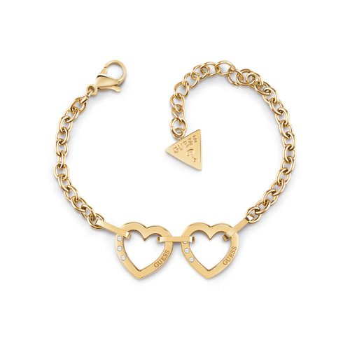 GUESS STEEL Hearted Chain Χρυσό Βραχιόλι Με Καρδιές UBB29070-S