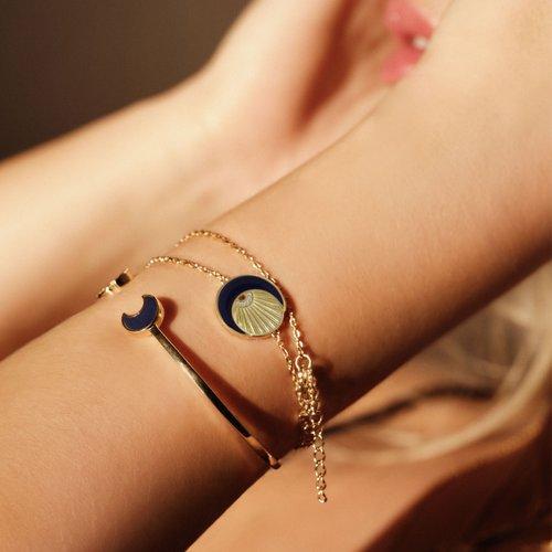 JCOU Sun And Moon Silver 925 Bracelet JW901G2-01